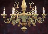 Handcrafted in Italy - Painted Wood Chandelier Pale Green and Goldleaf Finish