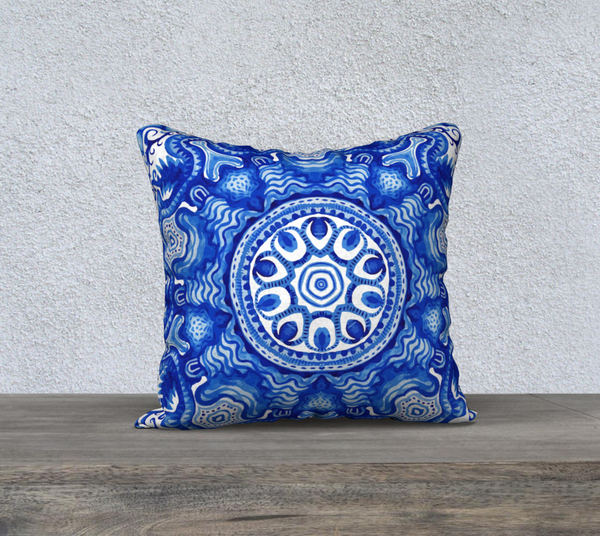 Blue and White Mandala 18 X 18 - FineHomeDecor101