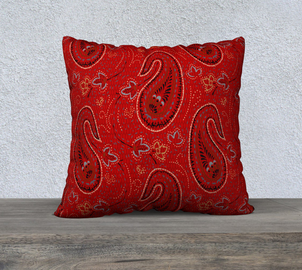 Red Paisley 22 X 22 - FineHomeDecor101