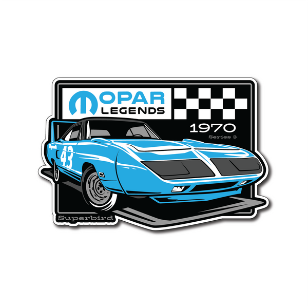 Mopar Legends Sticker #3 - Petty Blue Super Bird Sticker