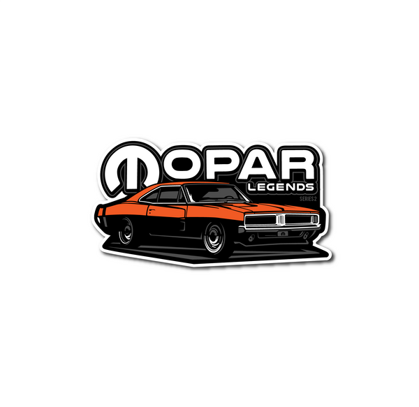 Mopar Legends Sticker #2 - Orange Charger Sticker