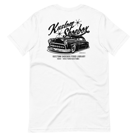 Copy of Kustom Shoebox Ford Library - Series 1 black ink premium T-Shirt (White)
