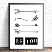 Nursery & Bedroom Wall Art Print - Tribal Arrows Print - Be You - The Kids Print Store