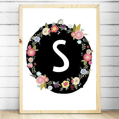 Wall Décor - Nursery Bedroom Decor Wall Art Print- A4 - Floral Woodland Monogram- Baby, Girls - The Kids Print Store