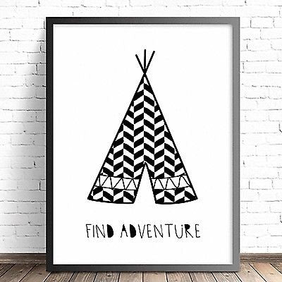 Wall Décor - Tribal Teepee Print - Find Adventure - The Kids Print Store