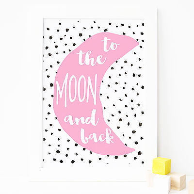 Girls Nursery Prints - To The Moon & Back Print - Pink - The Kids Print Store