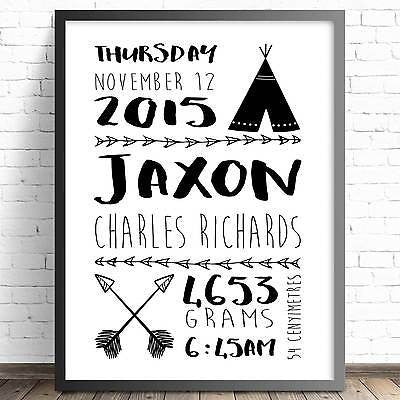 Personalised Nursery & Bedroom Wall Art Birth Print - Tribal Birth Announcement Print - The Kids Print Store