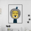 Scandi Lion Safari Nursery or Bedroom Wall Art Print