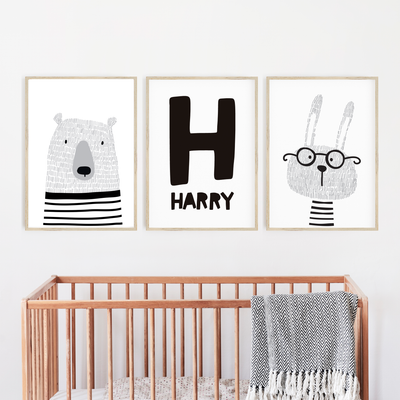 Monochrome Scandi Animal Nursery Wall Art Print Set - Bunny, Bear & Name Print