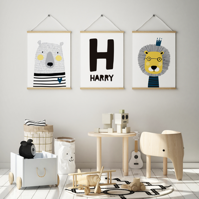 Scandi Animal Nursery Wall Art Print Set - Lion, Bear & Name Print