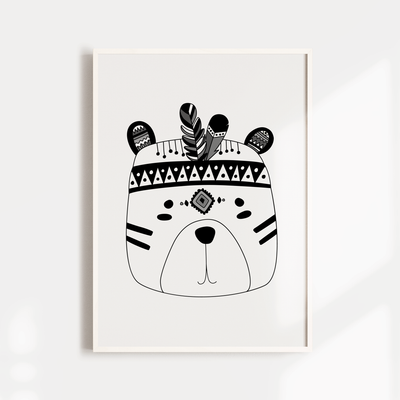Monochrome Tribal Bear Print