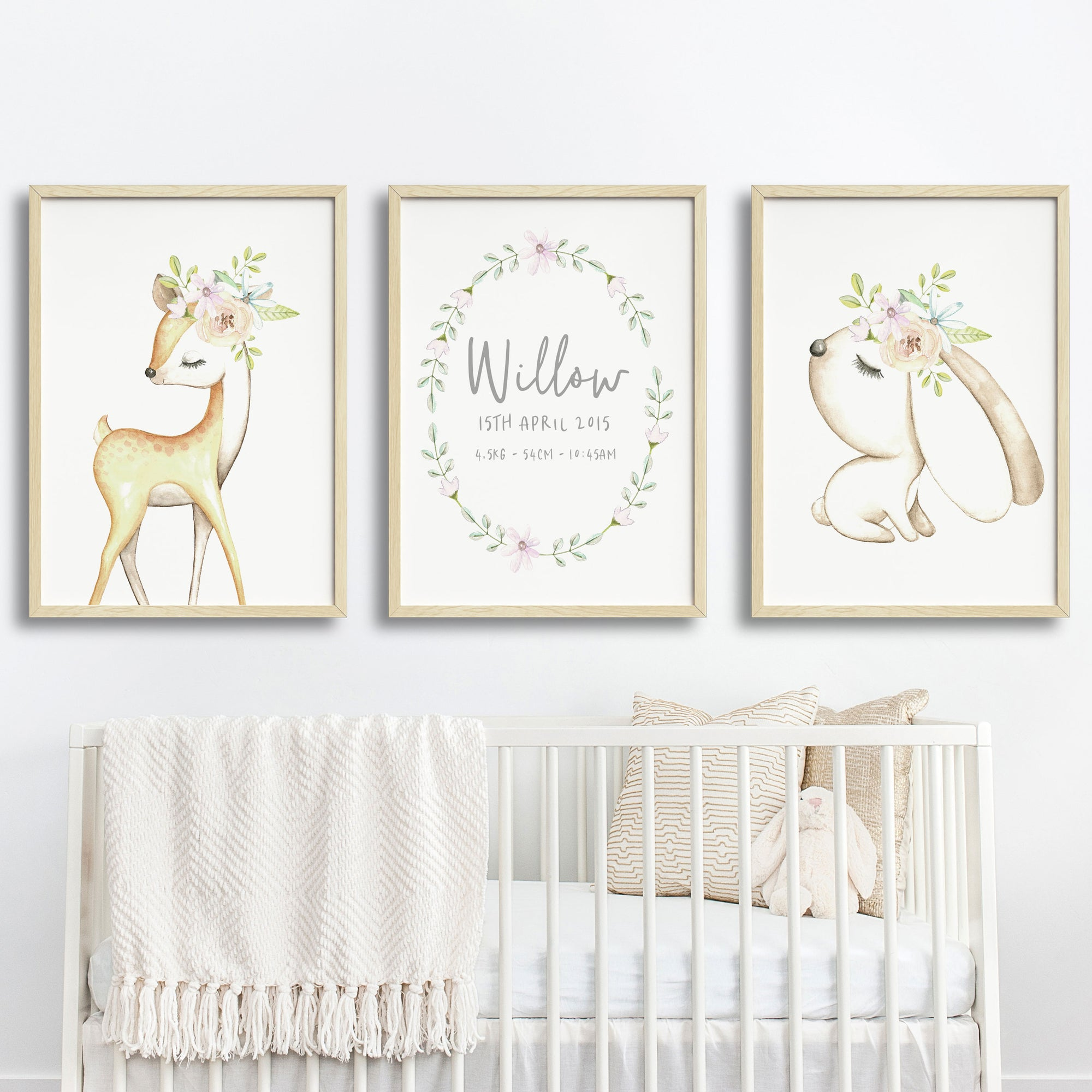 Baby, Girls Floral Woodland Nursery or Bedroom Wall Art Decor Print Set- Personalised