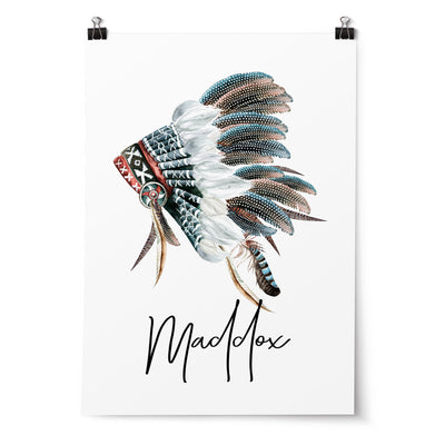 Boho Tribal Headdress Name Print
