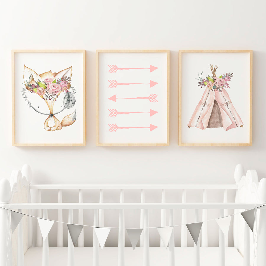 Boho Floral Woodland Nursery or Bedroom Wall Art Print Set - Teepee , Arrows & Fox