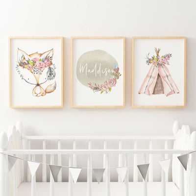 Boho Floral Woodland Nursery or Bedroom Wall Art Print Set - Fox , Teepee & Name