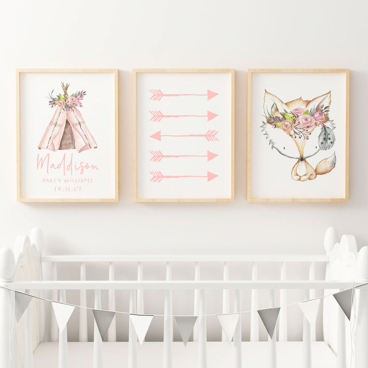 Boho Floral Woodland Nursery or Bedroom Wall Art Print Set - Fox , Arrows & Teepee Birth Print