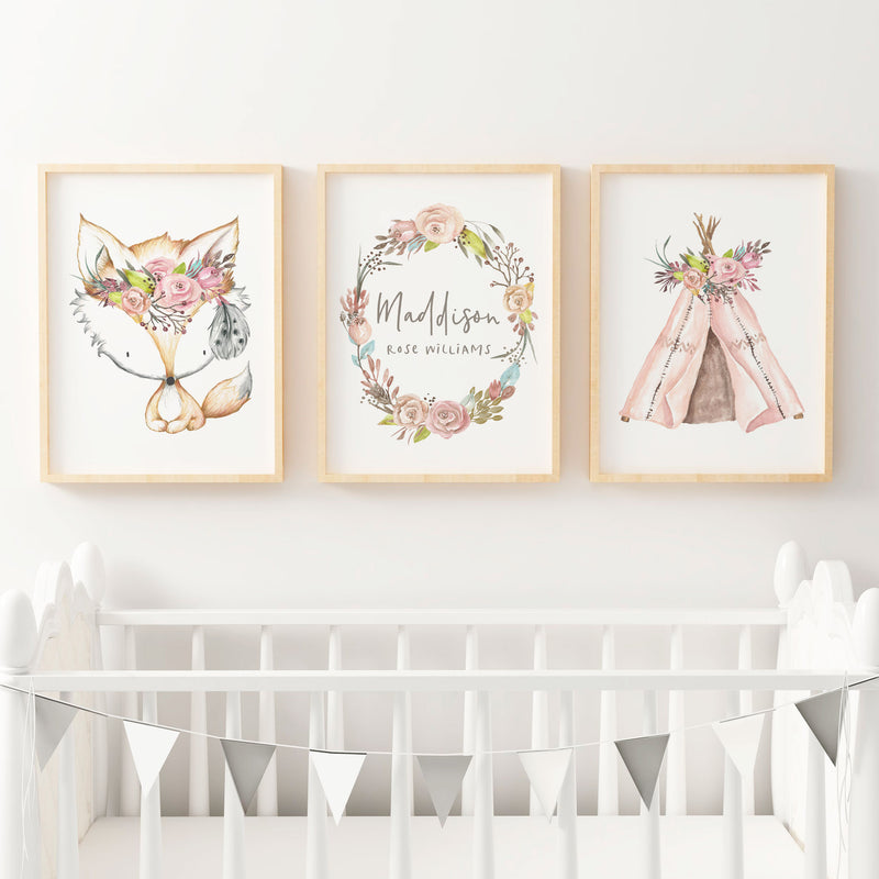 Boho Floral Woodland Nursery or Bedroom Wall Art Print Set - Fox , Teepee & Floral Wreath