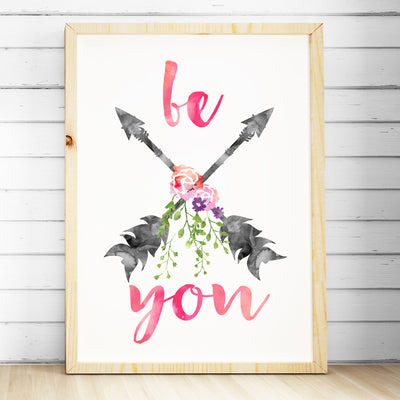 Girls Nursery Prints - Watercolour Arrows Print- Be You - The Kids Print Store