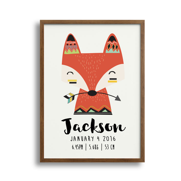 Personalised Baby Nursery Decor Wall Art Print, Birth Announcement- Tribal Fox