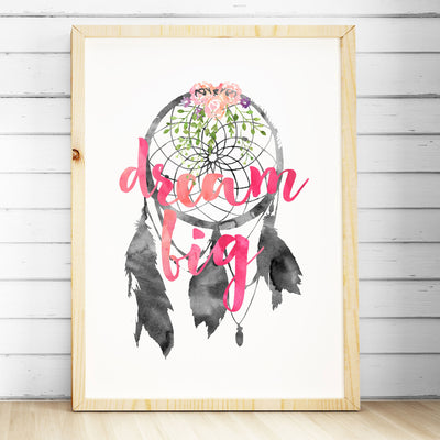 Girls Nursery Prints - Watercolour Dreamcatcher Print - Dream Big - The Kids Print Store