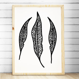 Tribal Nursery Bedroom Wall Art Print - Tribal Boho Feathers Print - The Kids Print Store