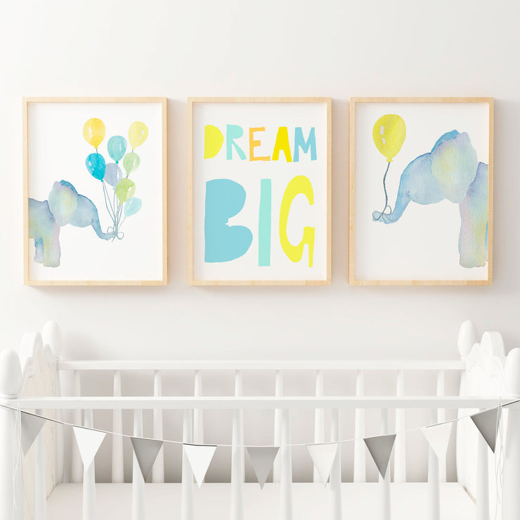 Watercolour Elephants with Balloons - Nursery or Bedroom Wall Art Print Set