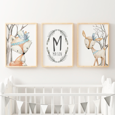 Boys Woodland Animal Nursery prints, deer, fox & name sign