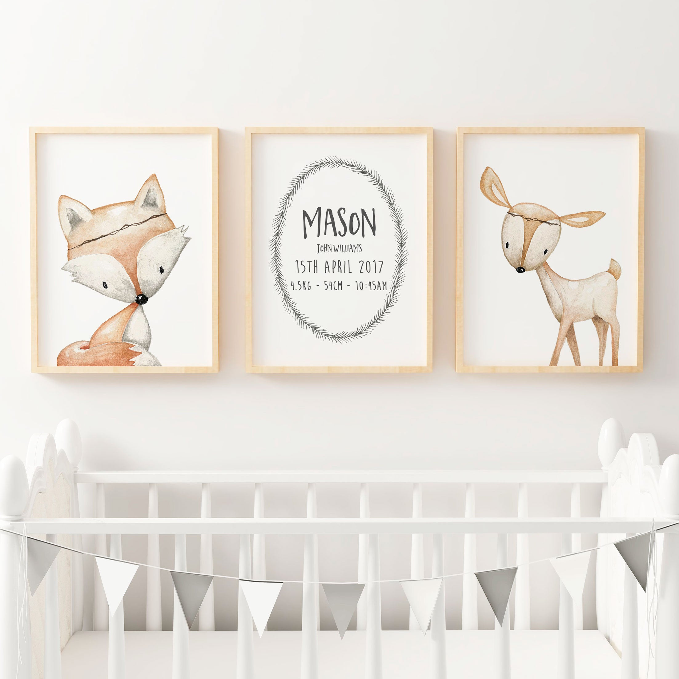 Baby, Boys Woodland Nursery Or Bedroom Wall Art Decor Print Set  Birth  Print, ...