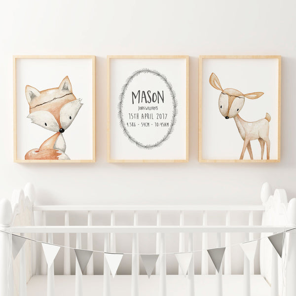 Baby, Boys Woodland  Nursery or Bedroom Wall Art Decor Print Set- Birth Print, Fox & Deer