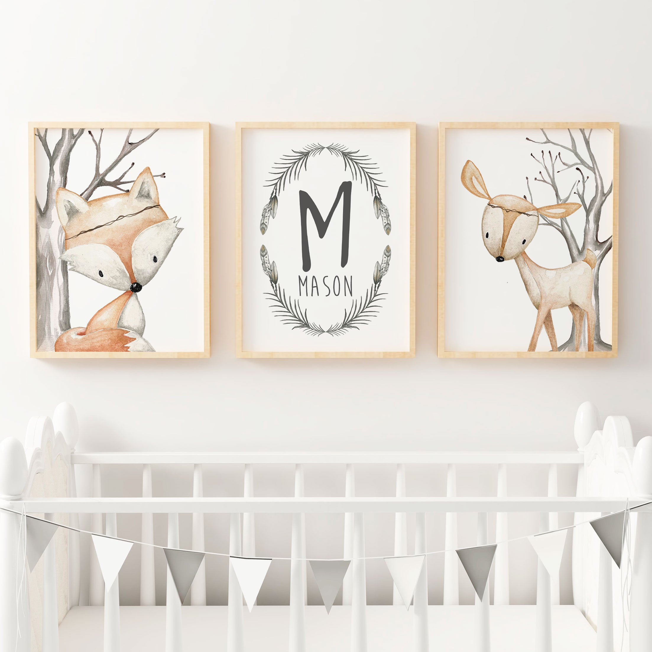 Baby, Boys Woodland Nursery Or Bedroom Wall Art Decor Print Set  Name  Print, Fox U0026 Deer