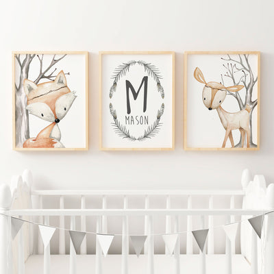 Boys Woodland Nursery Prints | Deer, Fox & Name Print