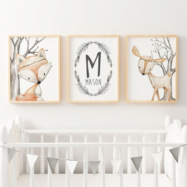 Baby, Boys Woodland  Nursery or Bedroom Wall Art Decor Print Set- Name Print, Fox & Deer