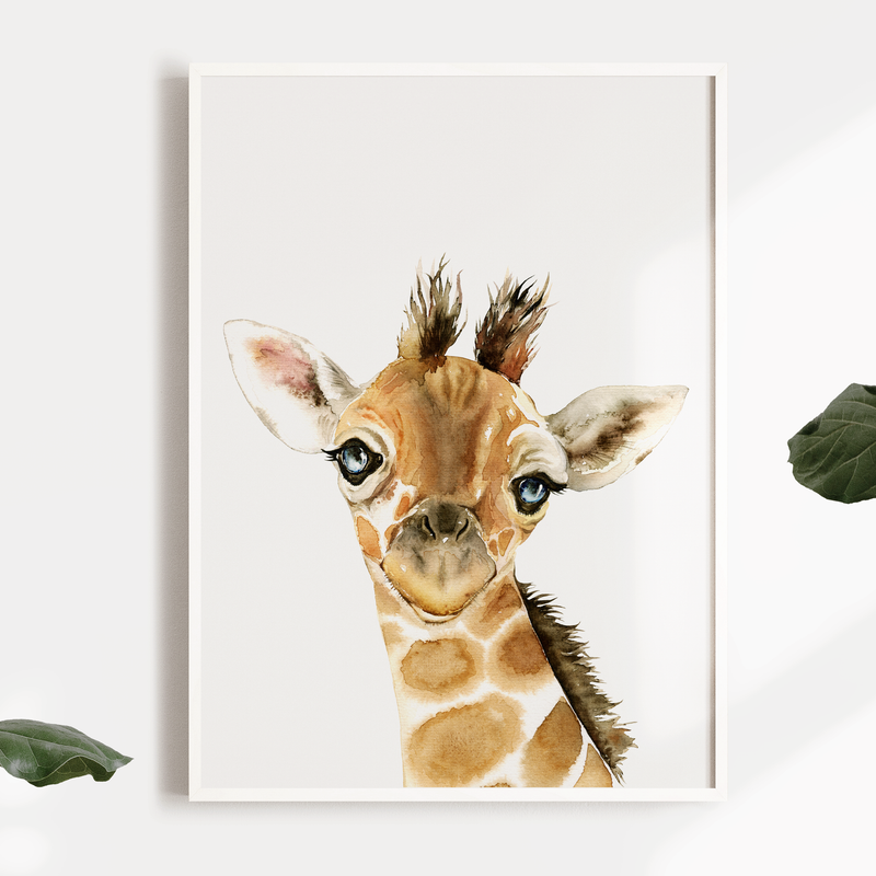 Boys Giraffe Safari Jungle Nursery or Bedroom Wall Art Print