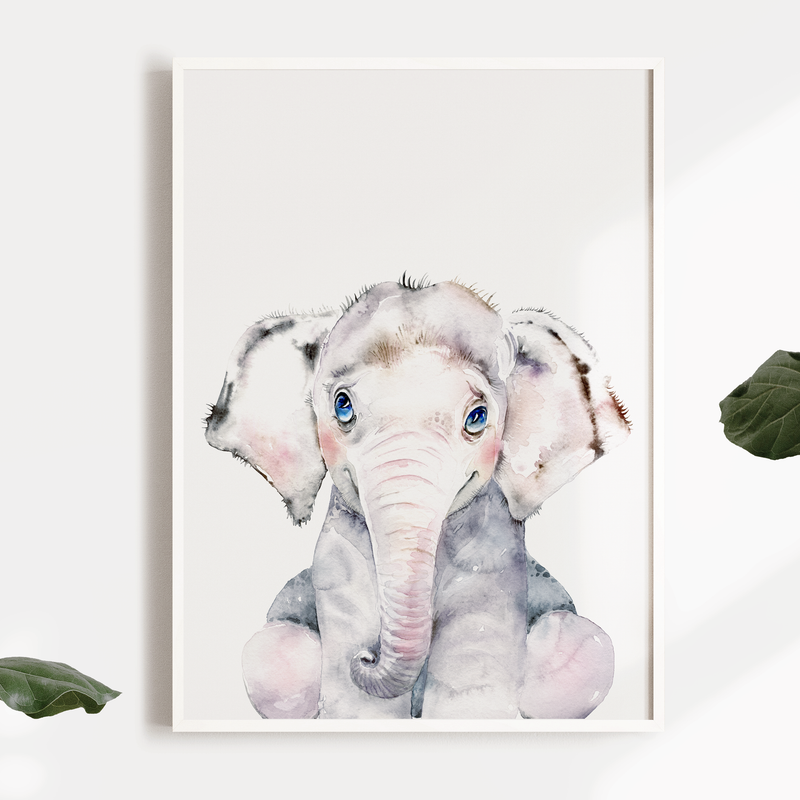 Boys Watercolour Safari Elephant Nursery or Bedroom Wall Art Print