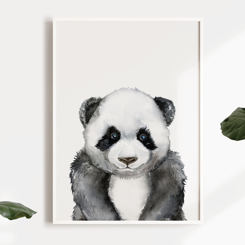 Boys Panda Safari Jungle Nursery or Bedroom Wall Art Print