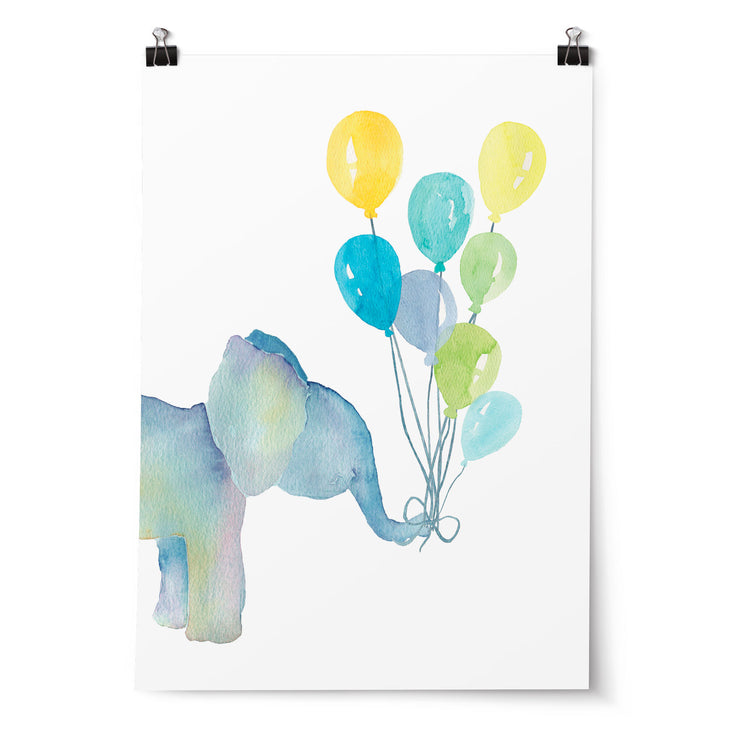 Watercolour Elephant with Balloons Print