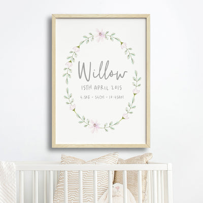 Floral Woodland Birth Print #3