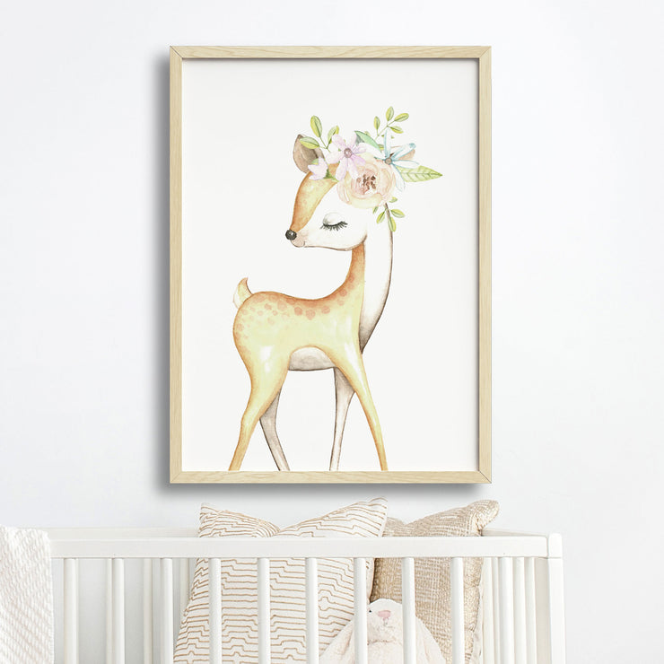 Baby, Girls Woodland Deer Nursery or Bedroom Wall Art Decor Print