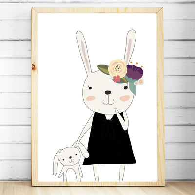 baby girls floral woodland bunny nursery or bedroom wall art decor print
