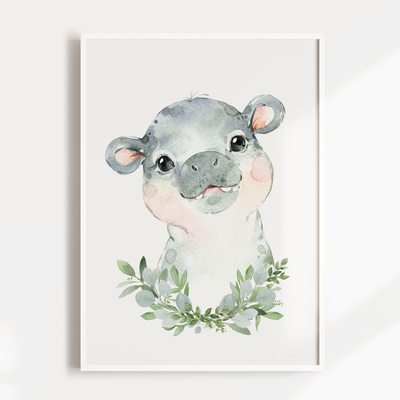 Baby Hippo Nursery Wall Art Print
