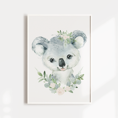 Baby, Australian Baby Animal Nursery or Bedroom Wall Art Decor Print Set- Koala, Kangaroo & Wombat