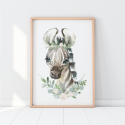Baby, Girls Floral, Safari, Woodland Nursery or Bedroom Wall Art Decor Print Set- Lion, Elephant & Zebra