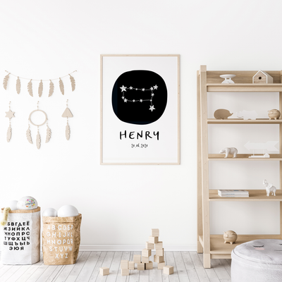 Gemini Zodiac Constellation Nursery Wall Art Birth Print