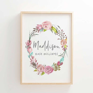 Baby Girls Floral Woodland Boho Wreath Nursery or Bedroom Wall Art Name Print - Personalised