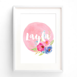 Baby, Girls Pink Floral Boho Nursery or Bedroom Wall Art Decor Name Print - Personalised Name
