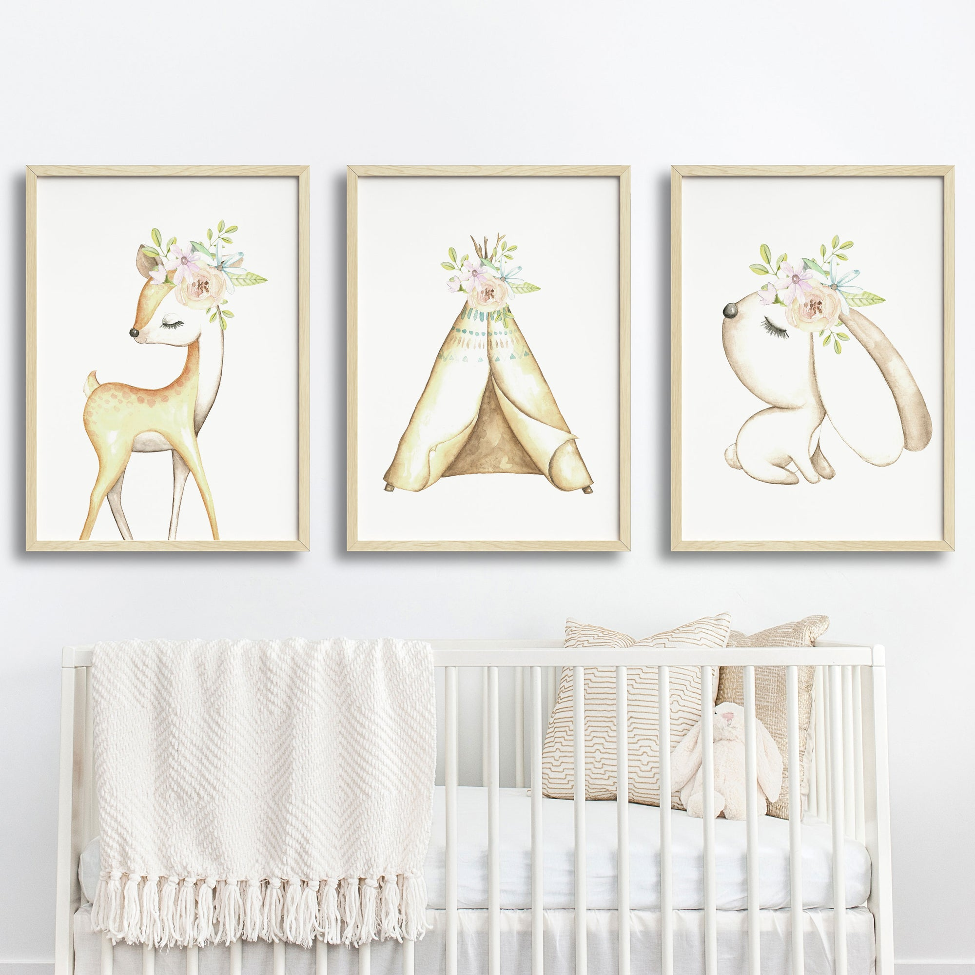 more photos d11b3 c304e Baby, Girls Floral Woodland Nursery or Bedroom Wall Art Decor Print Set-  Deer, Bunny & Teepee