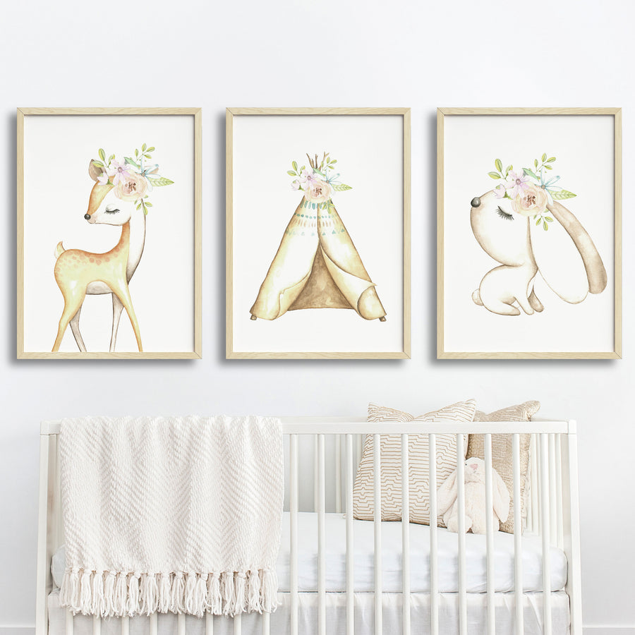 Baby, Girls Floral Woodland Nursery or Bedroom Wall Art Decor Print Set- Deer, Bunny & Teepee
