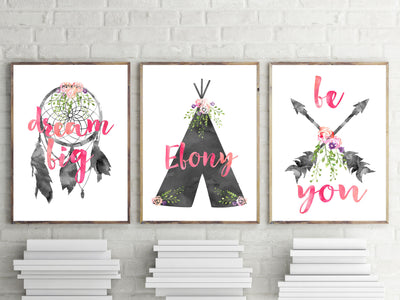 Girls Nursery Prints - Girls Boho Tribal Black Watercolour Prints - The Kids Print Store