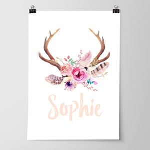 Baby, Girls Floral Boho Tribal Nursery Print Set - Personalised Antler Name Print, Dreamcatcher, Arrows