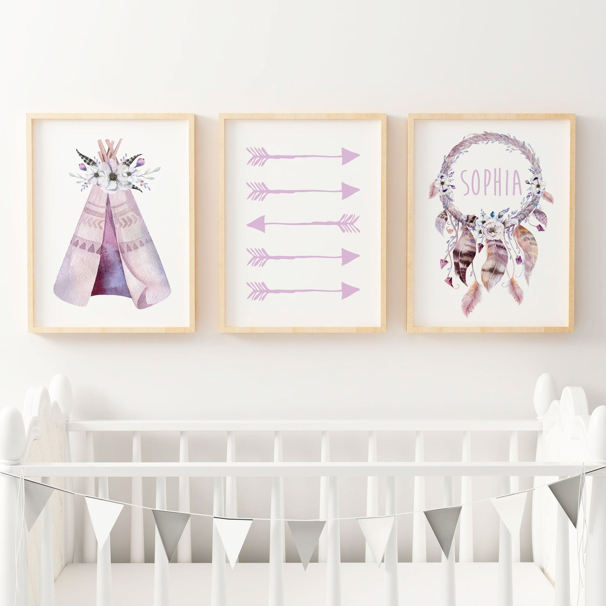Baby, Girls Boho Tribal Nursery or Bedroom Wall Art Decor Print Set with Personalised Dreamcatcher Name Print